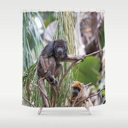 Pair of Howler Monkeys watching Shower Curtain