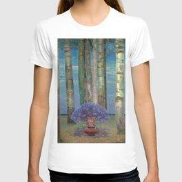 Wysteria Fountain And Poplar Trees by Emilie Mediz-Pelikan T-shirt