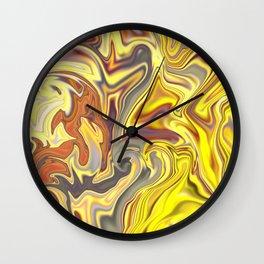 Wild Yellow Madness Liquid Marble Wall Clock