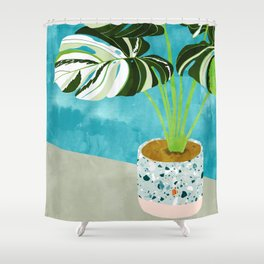 Variegated Monstera #tropical #painting #nature Shower Curtain