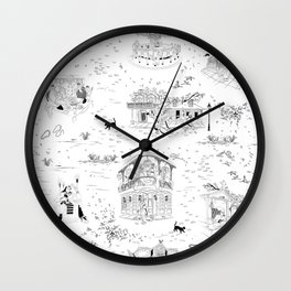 New Orleans Toile Wall Clock