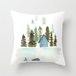 I see a whale! Throw Pillow
