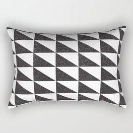 Retro Triangular Geometric Pattern 04 - White, Black Rectangular Pillow