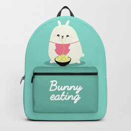 Fat bunny eating noodles Backpack