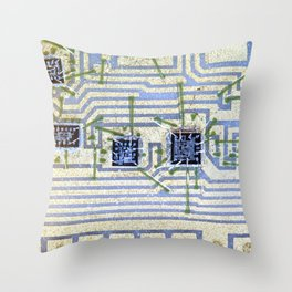 Silicon chip on a circuit Throw Pillow