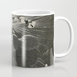 From the Earth to the Moon Black & White Space Explosion Ink Art 1874 Coffee Mug