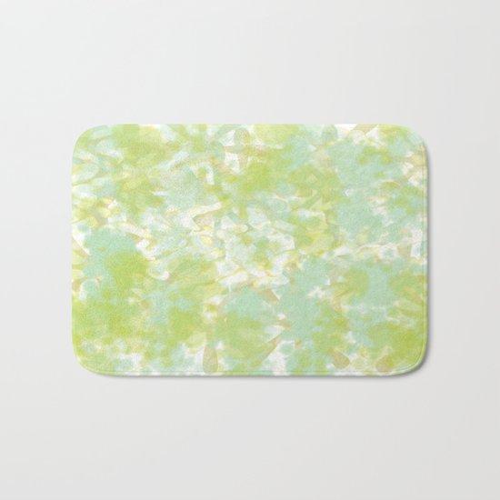 Golden Green Watercolor Abstract Bath Mat