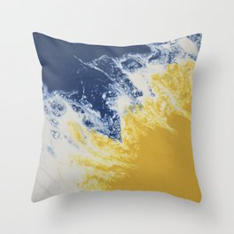 Blue and Old Gold Sea 1 Throw Pillow