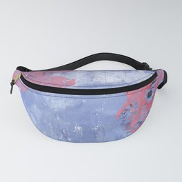 pink dahlia and apples: linoprint Fanny Pack