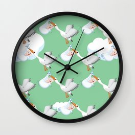 Flying crane birds carrying a cute chubby baby Wall Clock