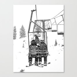 Snow Lift // Ski Chair Lift Colorado Mountains Black and White Snowboarding Vibes Photography Canvas Print