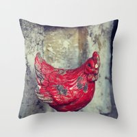 chicken Throw Pillows featuring Chicken by KunstFabrik_StaticMovement Manu Jobst