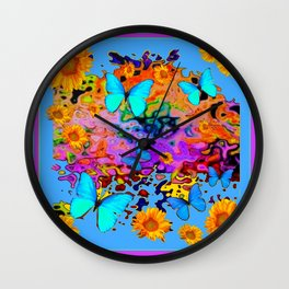 Black Decorative Blue Butterflies Floral Art Wall Clock