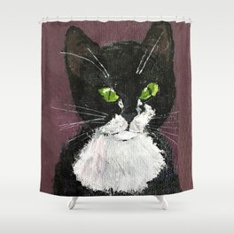 Cat drawing, Cute Black and White cat with green eyes Shower Curtain