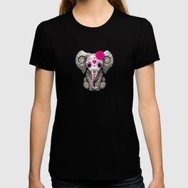 Pink Day of the Dead Sugar Skull Baby Elephant T-shirt