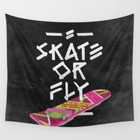 skate Wall Tapestries featuring Skate or Fly by André Maia