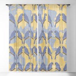 Blue Parrots Sheer Curtain
