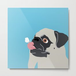 Pug Butterfly Flat Graphic Metal Print