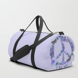 Purple Watercolor Peace Symbol Floral Dreamcatcher Duffle Bag