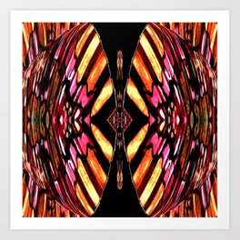 Sunburst Diamond on Black,Yellow,Pink,Red,Tan,Orange Art Print
