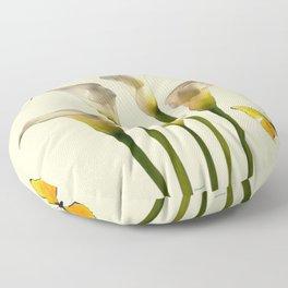 Ivory Calla Lilies Yellow Butterflies Floor Pillow
