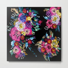 Colorful Floral Painting on Black Canvas. Metal Print
