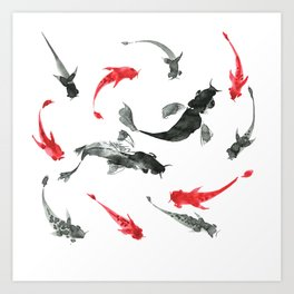 Sumi-e hand drawn ink fishes, black and red. Japan traditional style. Art Print