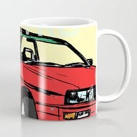 audi Mugs featuring AUDI QUATTRO BRITISH EDITION 20V RED and BEIGE by Егор Шиянов