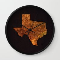 texas Wall Clocks featuring Texas by Taylor Wilson Graphics