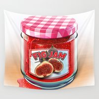 fig Wall Tapestries featuring FIG JAM by Vin Zzep