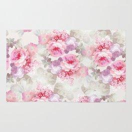 Elegant blush pink lavender ivory romantic roses floral Rug