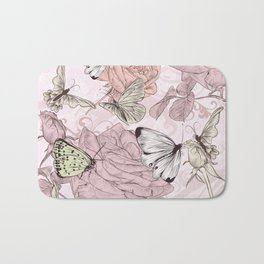 Victorian style classic pattern with butterflies and roses Bath Mat