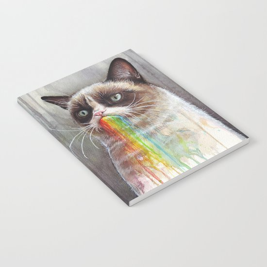 Cat Tastes the Grumpy Rainbow | Watercolor Painting Notebook