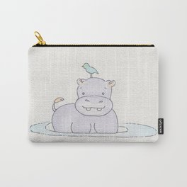 Watercolor Hippo Carry-All Pouch