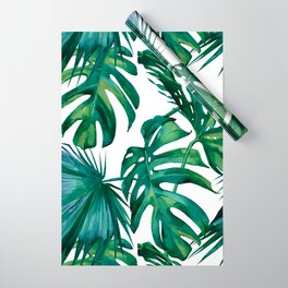 Classic Palm Leaves Tropical Jungle Green Wrapping Paper