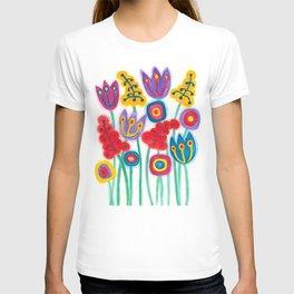 raw flower garden with tulips T-shirt