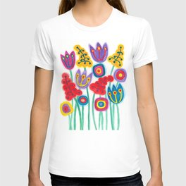 raw flower garden with tulips T-shirt
