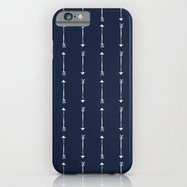 RUSTIC DENIM ARROWS . BLUE + WHITE iPhone Case