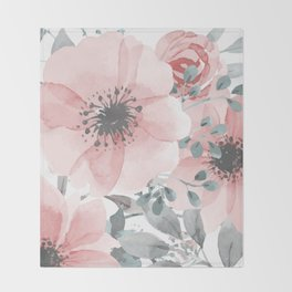 Abstract Watercolor, Floral, Coral and Gray, Watercolor Print Throw Blanket