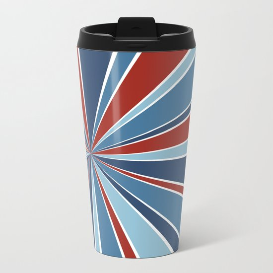 Star Burst Red White and Blue Metal Travel Mug