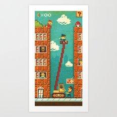 Super Mario - Mushroom Recession Art Print