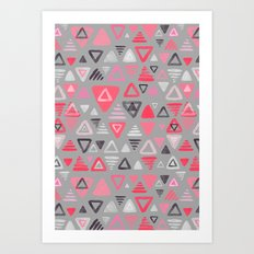 Summer Melon Hot Pink Triangles on Grey Art Print