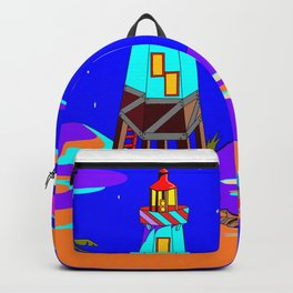 A Lighthouse on a Sandy Beach by Moonlight Backpack