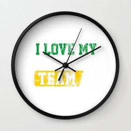 I Love mY Netball Team Distressed Wall Clock
