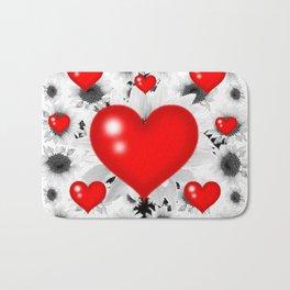 Red  Heart & Black Art  Pattern Bath Mat