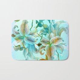 bue lilies Bath Mat