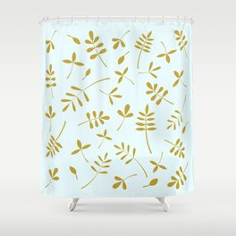 Gold Leaves Design on Light Blue Shower Curtain