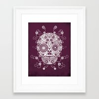 sugar skull Framed Art Prints featuring Sugar Skull by Farnell