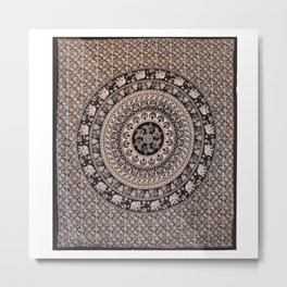 Queen Size Elephant Printed Hippie Mandala Tapestries  Metal Print