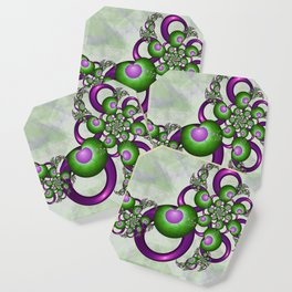 Young Love, Fractal Art With Green Pink Hearts Coaster